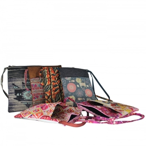 RECTANGULAR BAG FOR WOMEN, ON POLYESTE FULL COLOR PRINT
